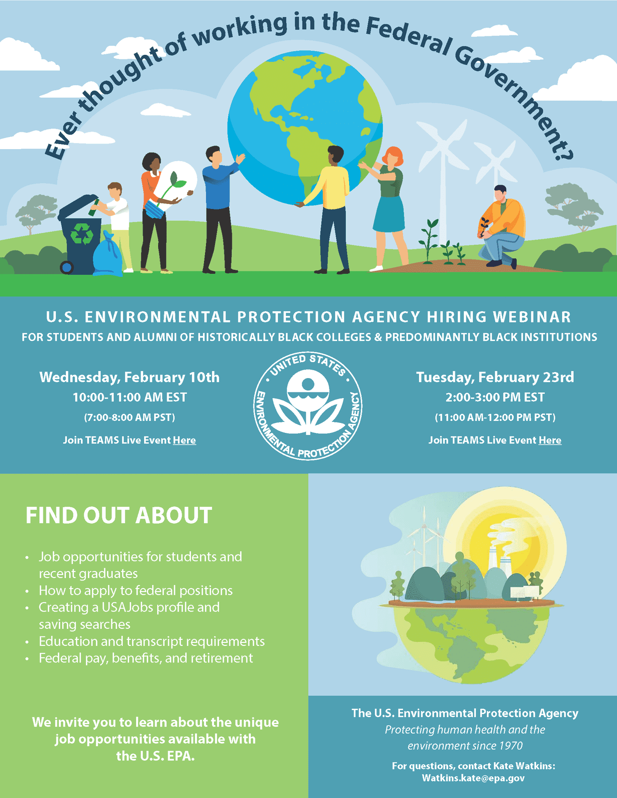 Announcement: U.S. Environmental Protection Agency Hiring Webinar for students and alumni of HBCUs and PBIs