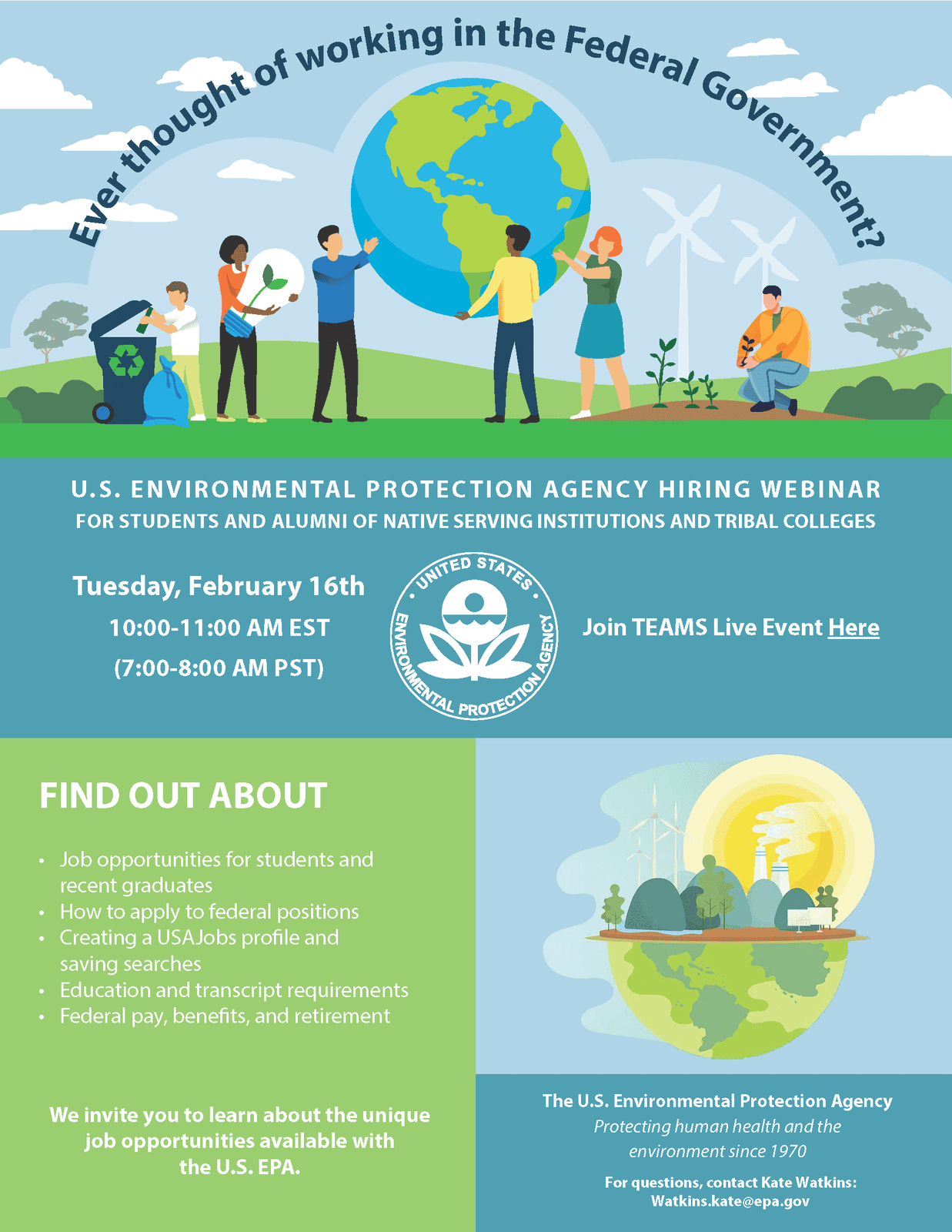 Announcement: U.S. Environmental Protection Agency Hiring Webinar for students and alumni of NSIs